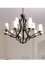 15 lights black patina bronze chandelier. Objet insolite.