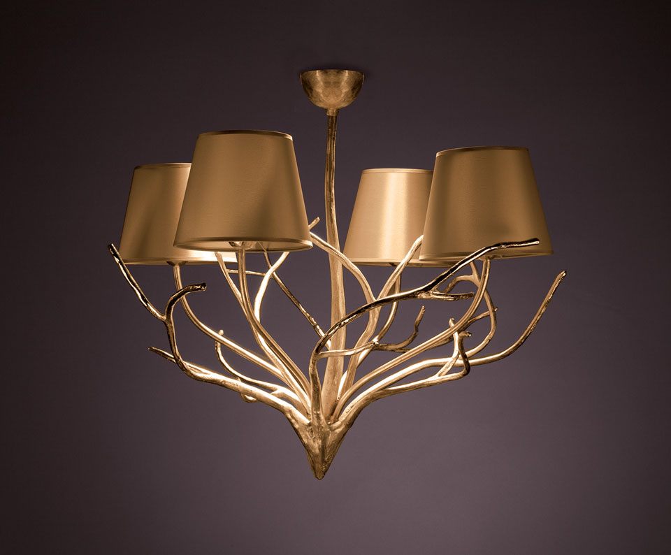 4 Lights Chandelier Gold Lampshade