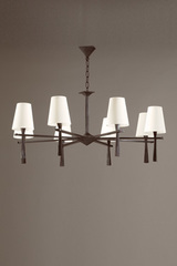 8-light chandelier clean design in solid bronze Pablo . Objet insolite.
