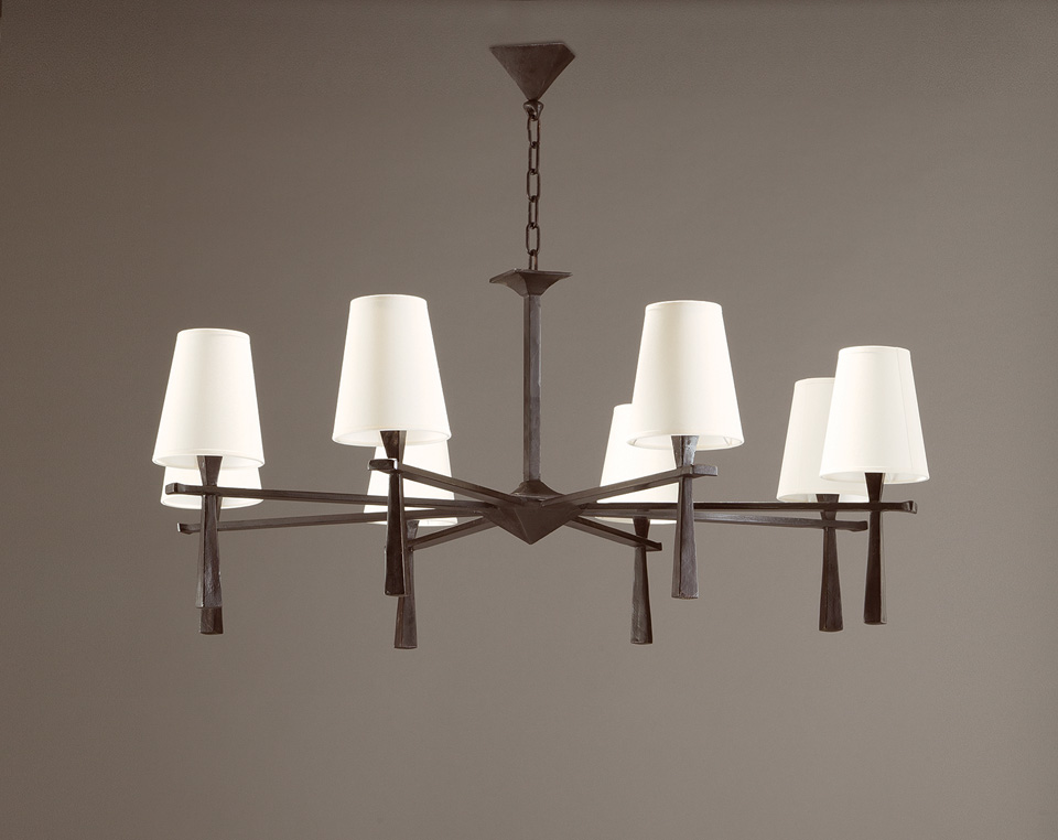 8-Light Chandelier Clean Design In Solid Bronze Pablo - Objet