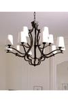 15 lights black patina bronze chandelier. Objet insolite.