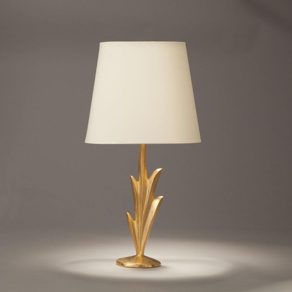 Lampe de table en bronze massif doré forme végétale Lys. Objet insolite.