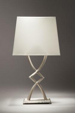 Lampe de table en bronze nickel satiné Mona petit modèle. Objet insolite.