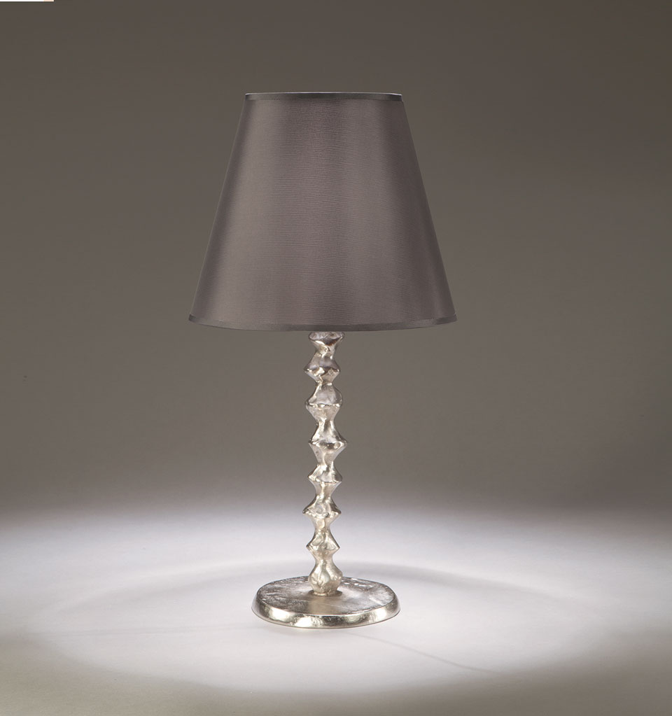 Lampe De Table Pied En Bronze Nickel Satine Et Abat Jour En Taffetas