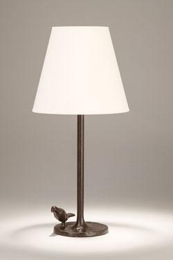 Lampe de table Plume en bronze noir patiné. Objet insolite.