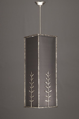 Pattern of leaves satin nickel bronze pendant with smoke grey lampshade. Objet insolite.