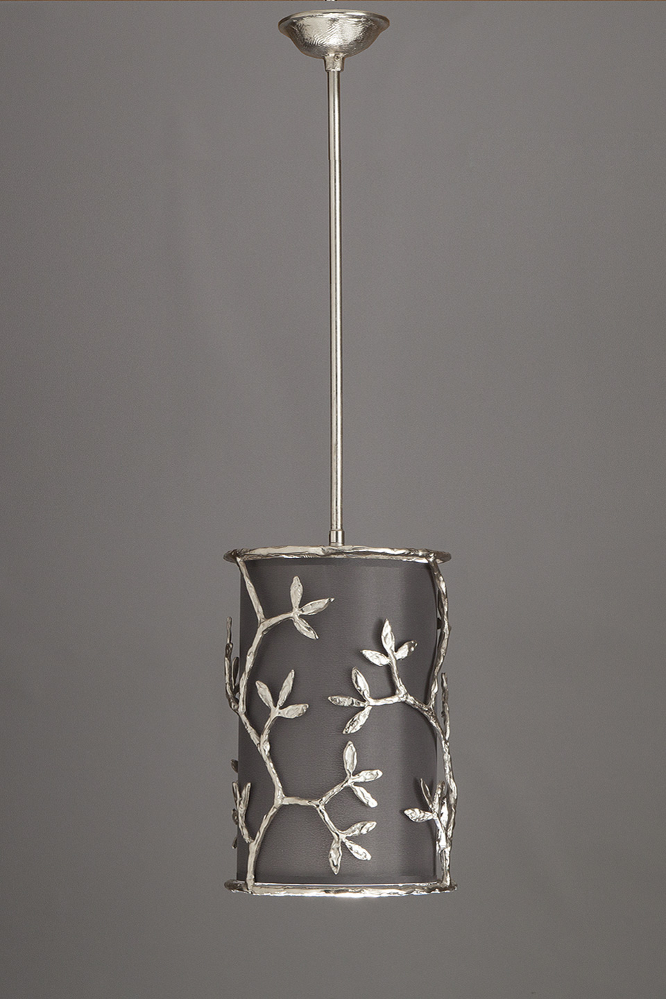Satin Nickel Cylindrical Pendant with Smoke Gray Shade Ombelle. Objet insolite.