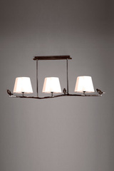 Triple bird on the branch pendant in solid bronze and white lampshades. Objet insolite.