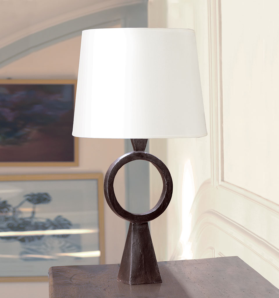 Patinated black solid bronze ring table lamp max objet for Objet insolite lighting
