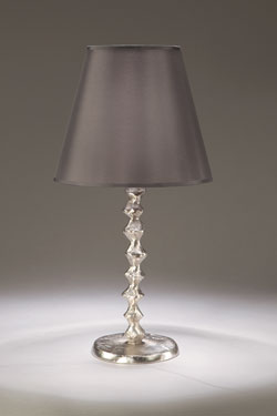 Satin Nickel Bronze Table Lamp with Smoked Taffeta Shade Sanfin . Objet insolite.