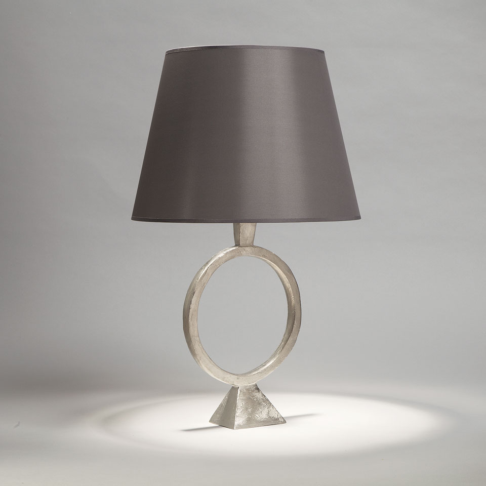 Satin nickel table lamp with smoked taffeta shade sonia for Objet insolite lighting