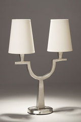 Satined nickel table lamp in solid bronze 2 lights Perceval. Objet insolite.