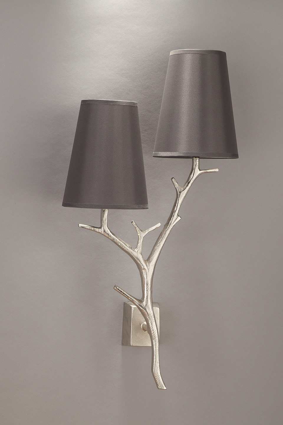 Brushed nickel double wall lamp ramure with smoke grey for Objet insolite lighting