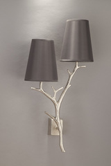 Brushed nickel double wall lamp Ramure with smoke grey shades. Objet insolite.