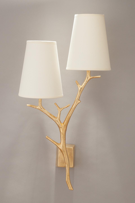 Gilded bronze 2 light wall lamp objet insolite hight for Objet insolite lighting