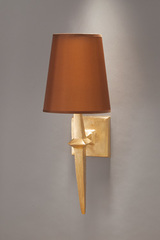 Gilded wall lamp and terracotta lampshade Adam. Objet insolite.