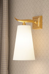 Gilded solid bronze wall lamp Fuso large. Objet insolite.