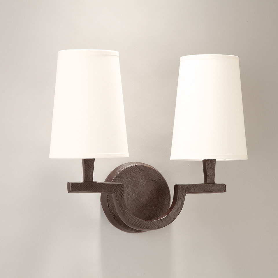 2-light wall lamp in patined black solid bronze Perceval. Objet insolite.