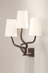 Patined black bronze wall lamp Triple, white lampshades. Objet insolite.