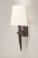 Patined black wall lamp with white lampshade Adam. Objet insolite.