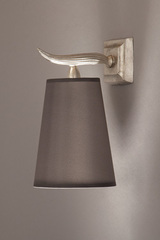 Satin nickel solid bronze wall lamp Fuso small. Objet insolite.