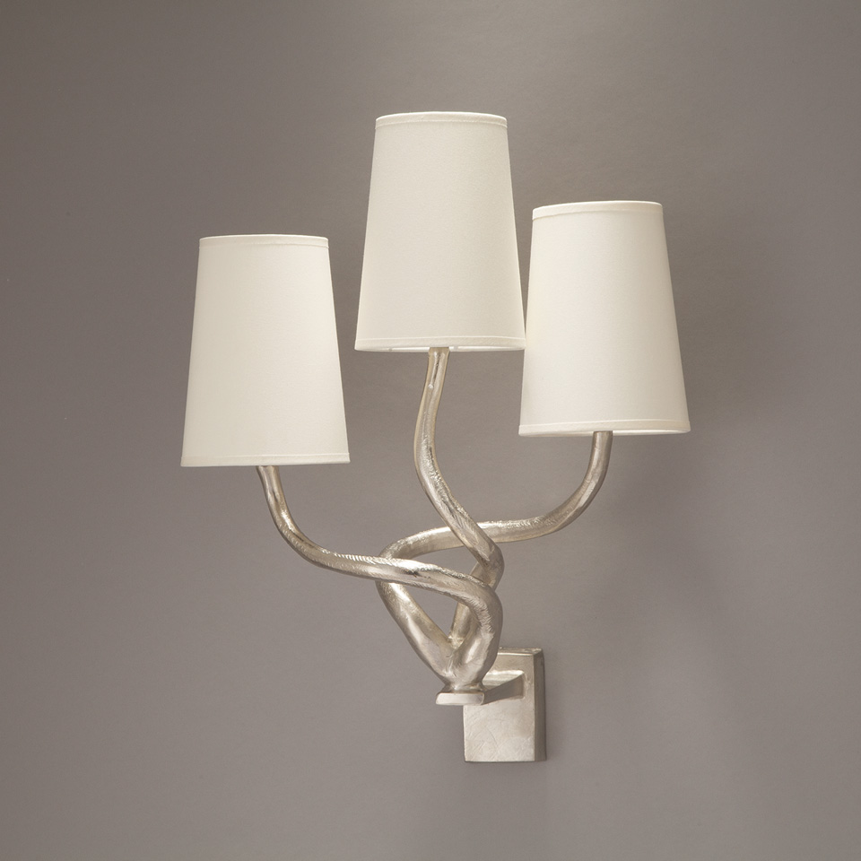 3-light satin nickel solid bronze wall lamp with twisted arms. Objet insolite.
