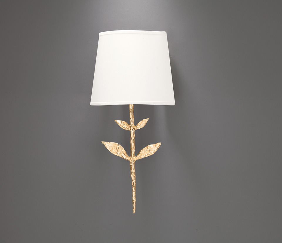 Small gilded solid bronze wall lamp silva objet insolite for Objet insolite lighting