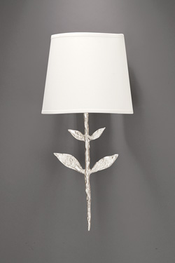 Small silver wall lamp Silva, stem and leaf look. Objet insolite.