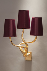 Triple gilded solid bronze wall lamp and 3 burgundy color shades. Objet insolite.