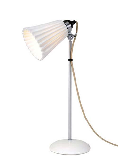 Hector Plissée lampe de table avec verrerie moyenne blanche. Original BTC.