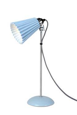 Hector Plissée lampe de table avec verrerie moyenne bleue. Original BTC.