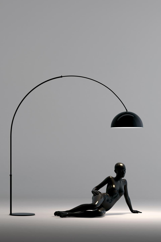 Grand lampadaire Glow noir en acrylique brillant. Paulo Coelho.