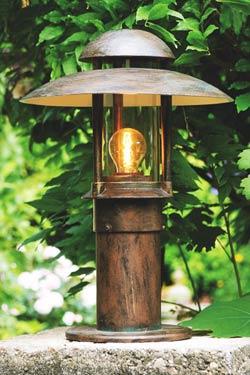Lampe d 39 ext rieur cylindrique toit double coupelle for Lumiere exterieur sur pied