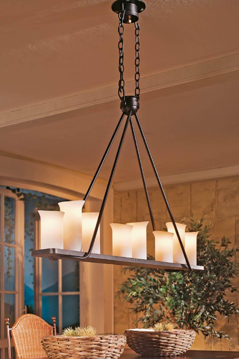 suspension en fer forg barre cha ne et tiges huit lumi res fabriqu par les forges robers en. Black Bedroom Furniture Sets. Home Design Ideas