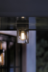 Tesla outdoor ceiling light in black aluminum and clear glass. Royal Botania.