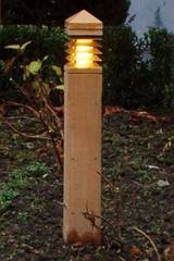 Lighthouse  teak and bronze garden path lighting quare section 40cm. Royal Botania.