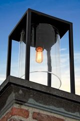 Dome Gate outdoor lantern black epoxy aluminum and clear glass. Royal Botania.