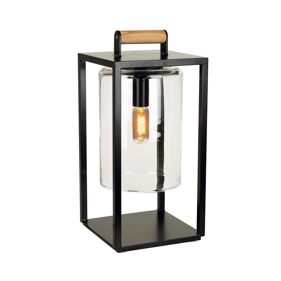 Outdoor Lantern Lamp Black Epoxy Aluminum Frame Handmade Gl Wooden Handle