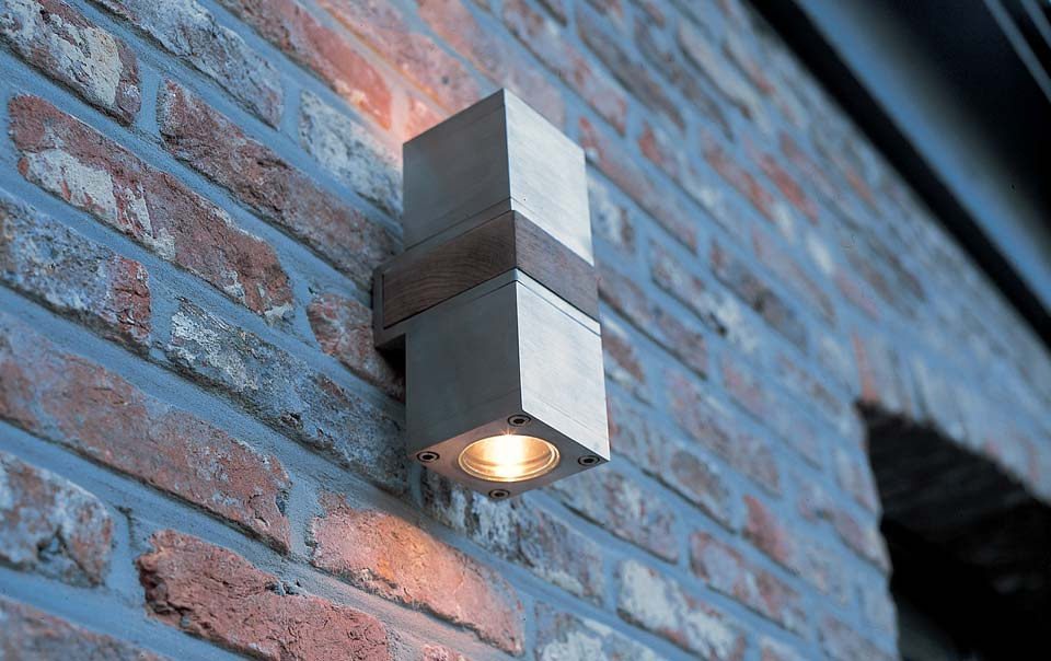 Wall Lamp Cube Teak And Stainless Steel