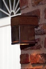 Q-Bic outdoor wall light in stainless steel and teak. Royal Botania.