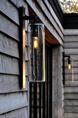 Outdoor wall lamp Dome black aluminum and clear glass. Royal Botania.