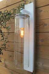 Outdoor wall lamp Dome white aluminum and clear glass. Royal Botania.