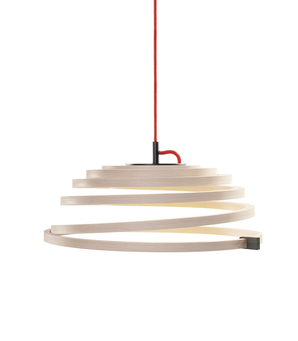 Aspiro suspension spirale en bouleau naturel. Secto Design.