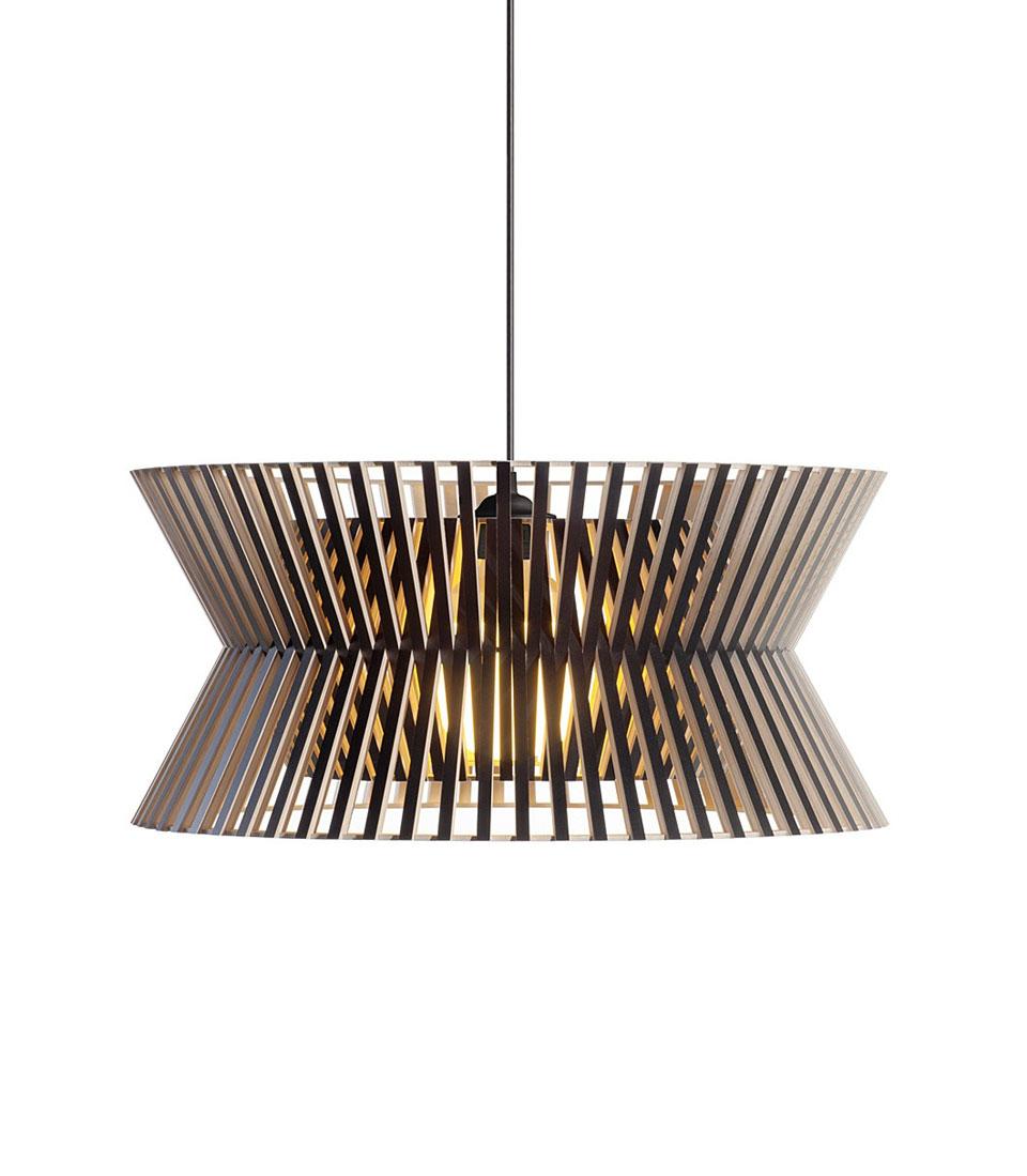 Kontro suspension géométrique noire et bois. Secto Design.