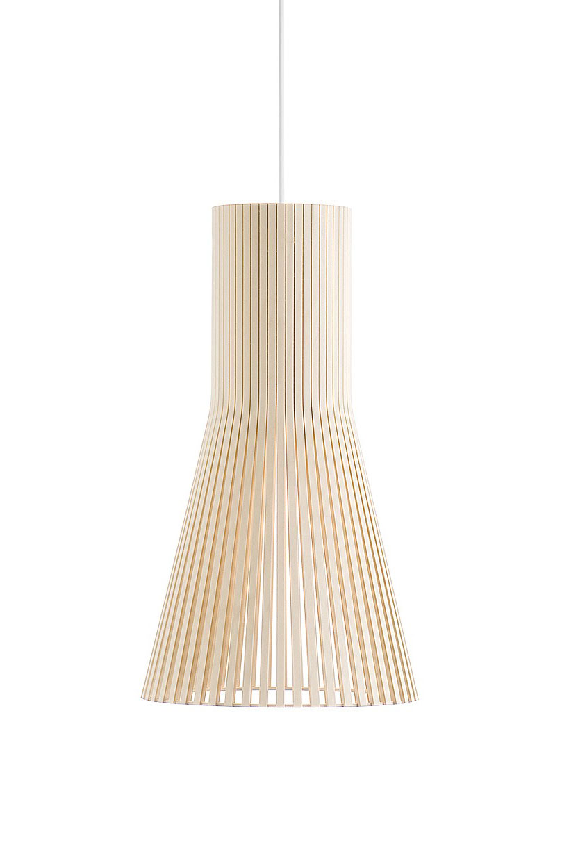 Petite suspension conique en bouleau naturel. Secto Design.