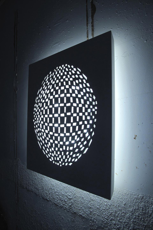 Applique motif sphère en plâtre naturel blanc Panaréa 3130. Sedap.