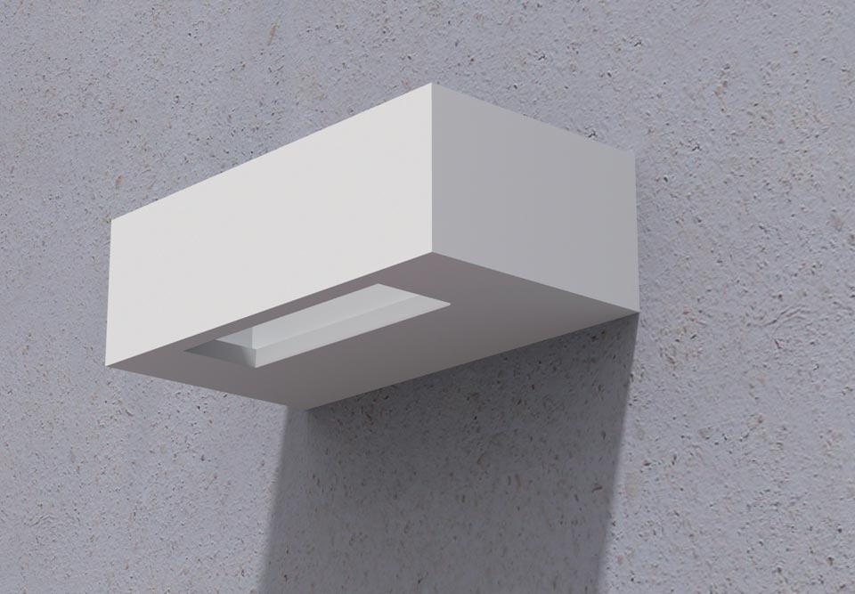Applique Saqqara Power 3076 rectangulaire en plâtre naturel blanc. Sedap.