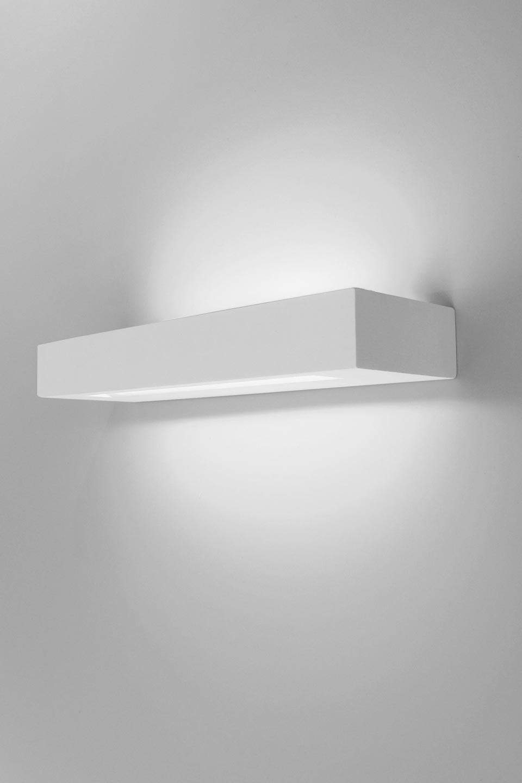 Applique Sucre LED 30 rectangulaire en plâtre naturel blanc 30cm. Sedap.