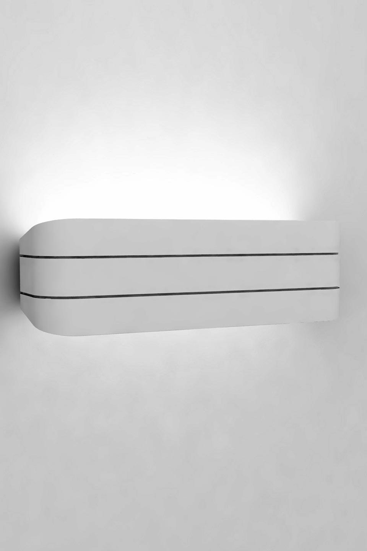 Applique Trocadéro 30 en plâtre naturel blanc bandeau replié strié 30cm. Sedap.