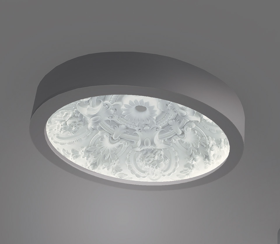 Dome Ceiling Lamp Large Model Classic Pattern In Relief